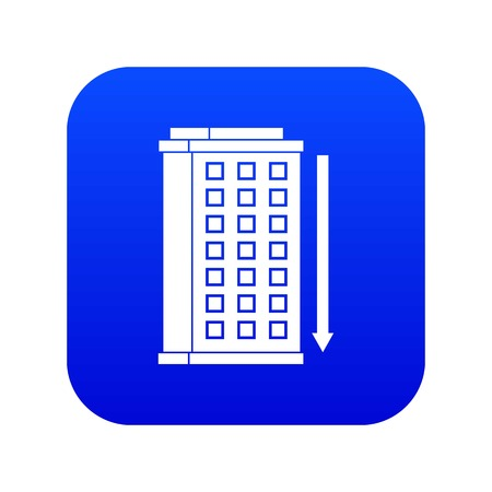 Tall building and down arrow icon digital blue 向量圖像