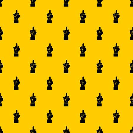 Middle finger hand sign pattern seamless vector repeat geometric yellow for any design Illustration