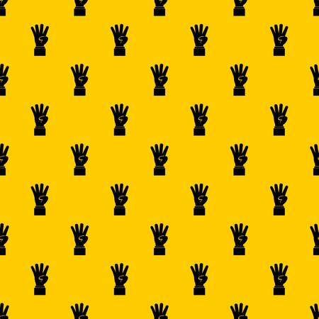 Hand showing number four pattern seamless vector repeat geometric yellow for any design Vector Illustratie