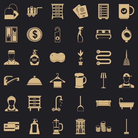 Bathroom icons set, simple style
