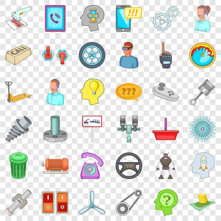Technical support icons set, cartoon style