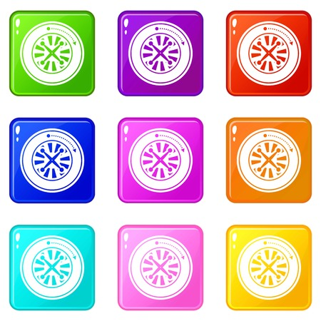 Roulette icons set 9 color collection Illustration