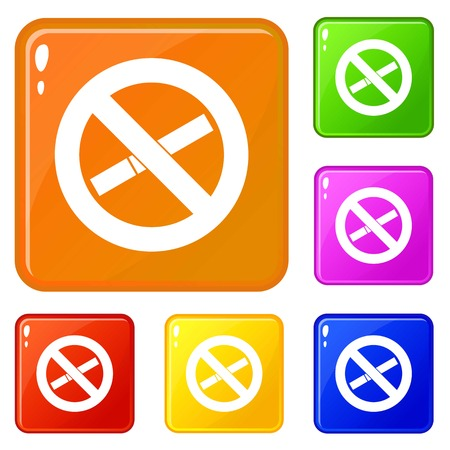 No smoking sign icons set collection vector 6 color isolated on white background Ilustrace