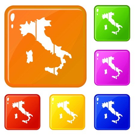 Map of Italy icons set collection vector 6 color isolated on white background