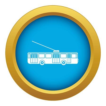 Trolleybus icon blue vector isolated on white background for any design Ilustração