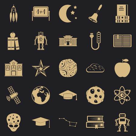 Space exploration icons set, simple style