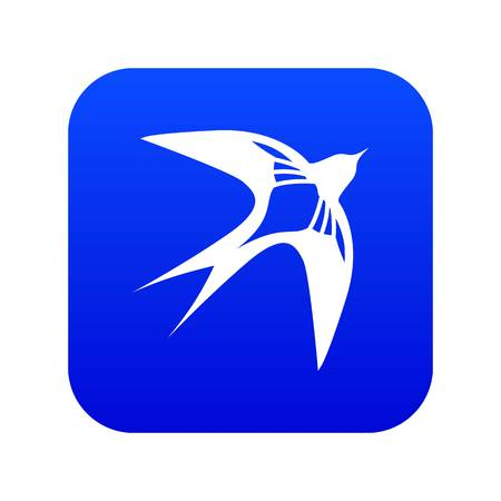 Swallow icon blue vector isolated on white background Çizim
