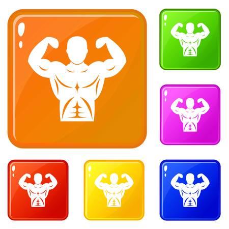 Athletic man torso icons set vector color Illustration