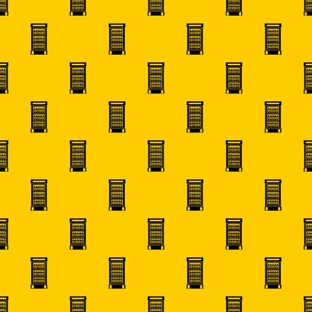 Fridge with refreshments drinks pattern seamless vector repeat geometric yellow for any design