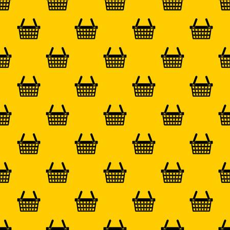 Shopping basket pattern seamless vector repeat geometric yellow for any design