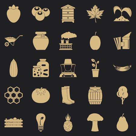 Natural product icons set, simple style