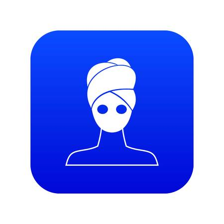 Spa facial clay mask icon digital blue for any design isolated on white vector illustration