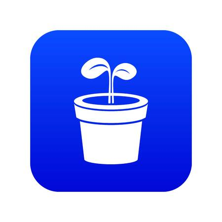Plant icon blue vector isolated on white background