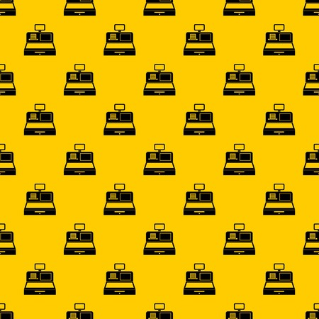 Cash register with cash drawer pattern seamless vector repeat geometric yellow for any design