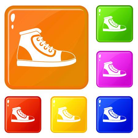 Athletic shoe icons set collection vector 6 color isolated on white background