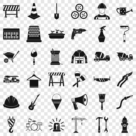 Tool icons set, simple style Vetores