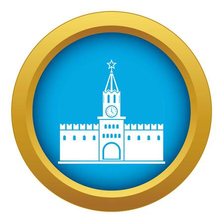 Russian kremlin icon blue vector isolated