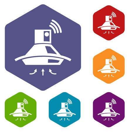 Kitchen hood icons vector colorful hexahedron set collection isolated on white