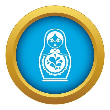 Matryoshka icon blue vector isolated on white background for any design Stock Illustratie