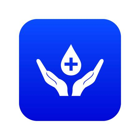 Hands holding blood drop icon digital blue for any design isolated on white vector illustration