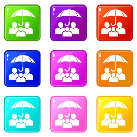 People protection icons set 9 color collection isolated on white for any design