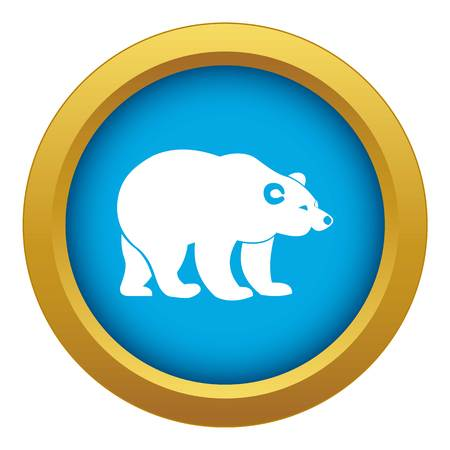 Bear icon blue vector isolated on white background for any design