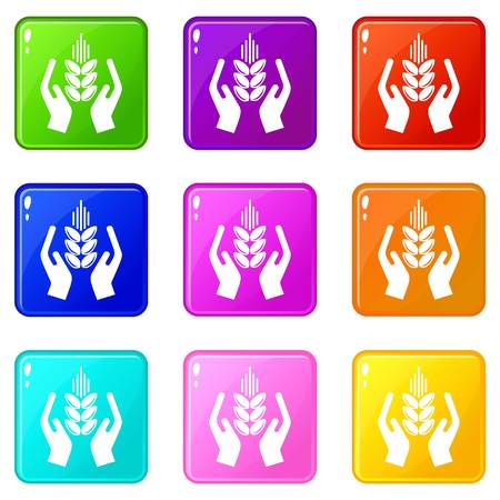Crop protection icons set 9 color collection isolated on white for any design Vectores