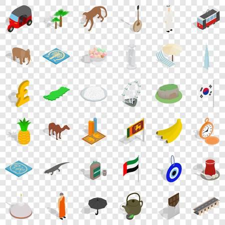Tourism icons set, isometric style Illustration
