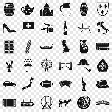 Tourist icons set, simple style Illustration
