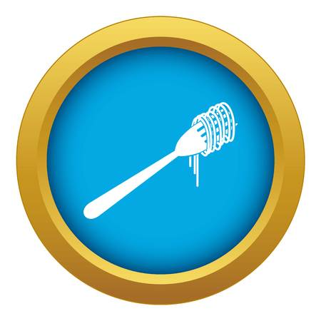 Spaghetti on a fork icon blue vector isolated on white background for any design Illustration