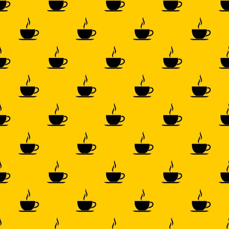 Cup of hot drink pattern seamless vector repeat geometric yellow for any design