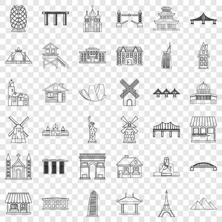 Tourist icons set, outline style Illustration