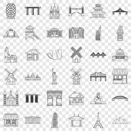 Tourist icons set, outline style 矢量图像