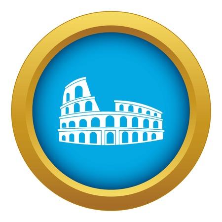 Roman Colosseum icon blue vector isolated