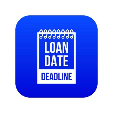Deadline icon blue vector