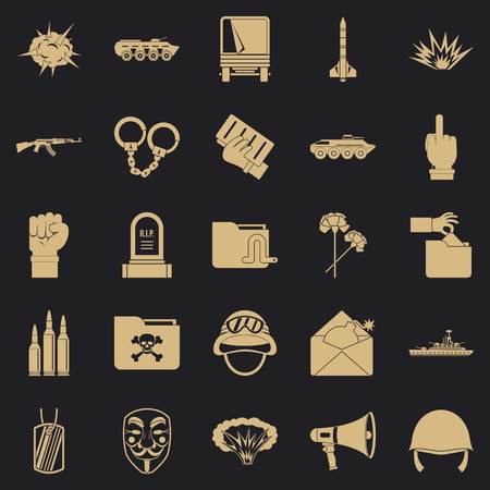 War icons set. Simple set of 25 war vector icons for web for any design