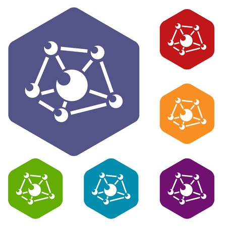 Molecule lab icons vector colorful hexahedron set collection isolated on white Ilustracja