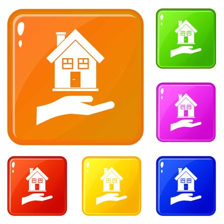 Hand holding house icons set collection vector 6 color isolated on white background