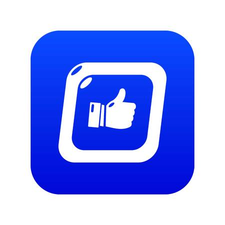 Thumbs up icon blue vector