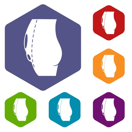 tummy tuck icons vector hexahedron