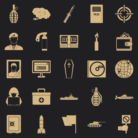 Battle icons set. Simple set of 25 battle vector icons for web for any design