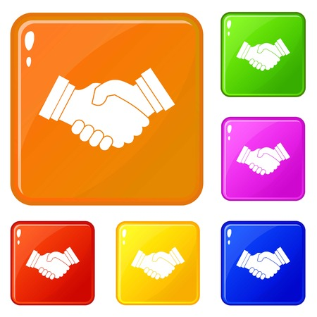 Business handshake icons set collection vector 6 color isolated on white background