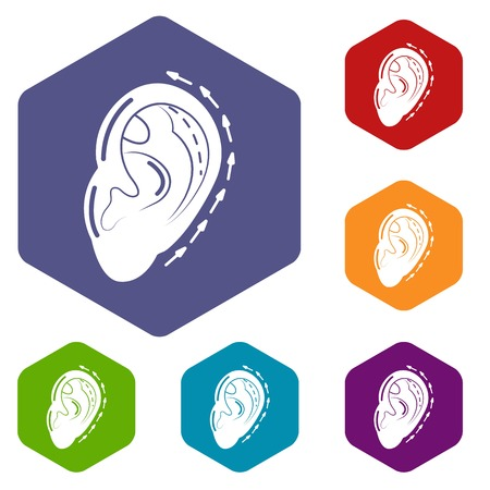 Ear reduction icons vector hexahedron