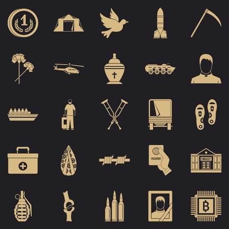 Horror of war icons set. Simple set of 25 horror of war vector icons for web for any design