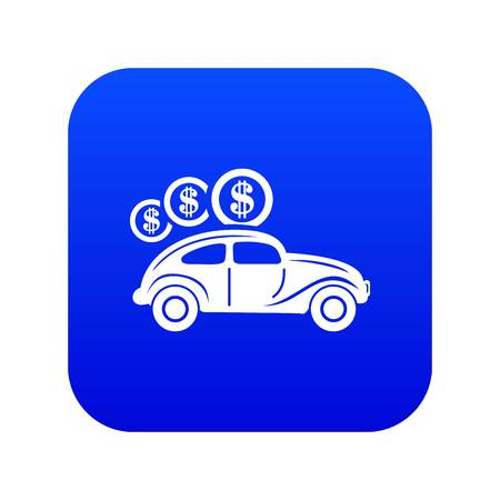 Car on credit icon blue vector isolated on white background