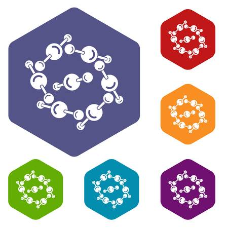 Molecule design icons vector colorful hexahedron set collection isolated on white