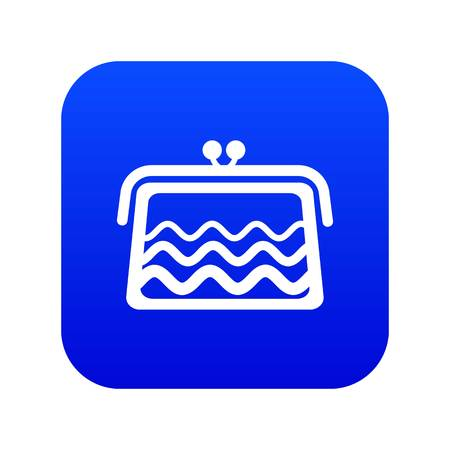 Wallet icon blue vector Illustration