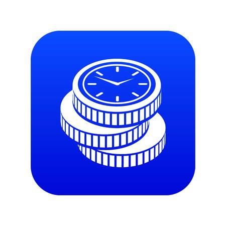 Coin icon blue vector Illustration