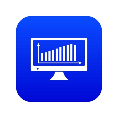 Graph on the monitor icon blue vector