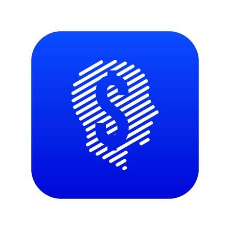 Dollar sign icon blue vector Illustration